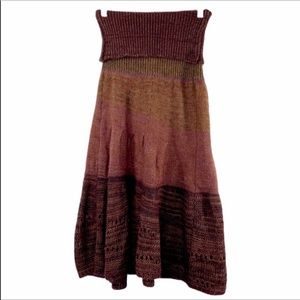 LILITH brown rust striped sweater skirt